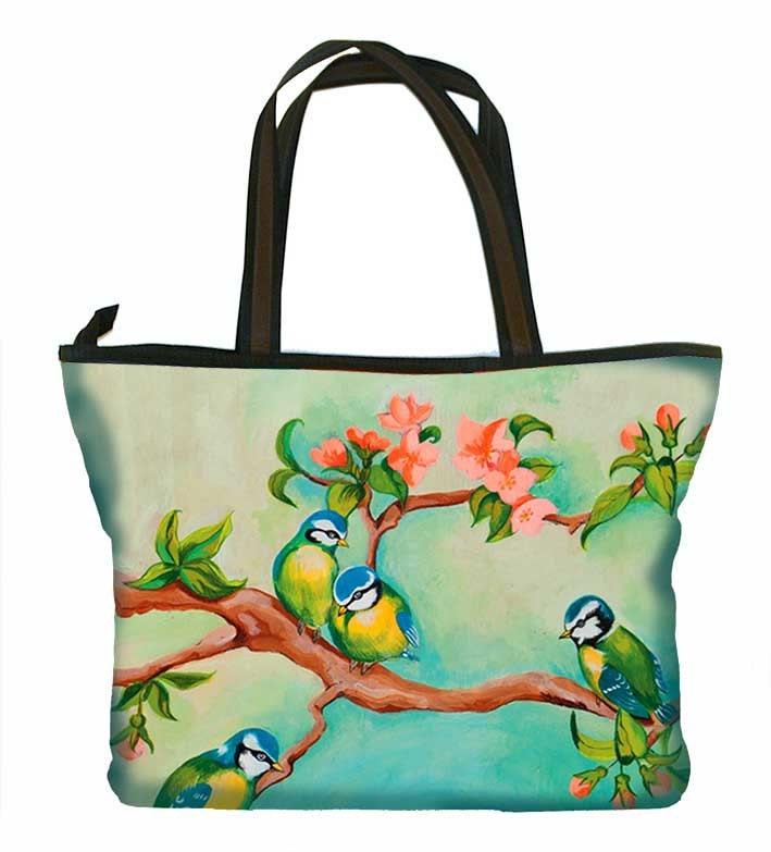 Large Handbag, bird, girl, colourful, print, green, yellow, retro - WoodyEllen