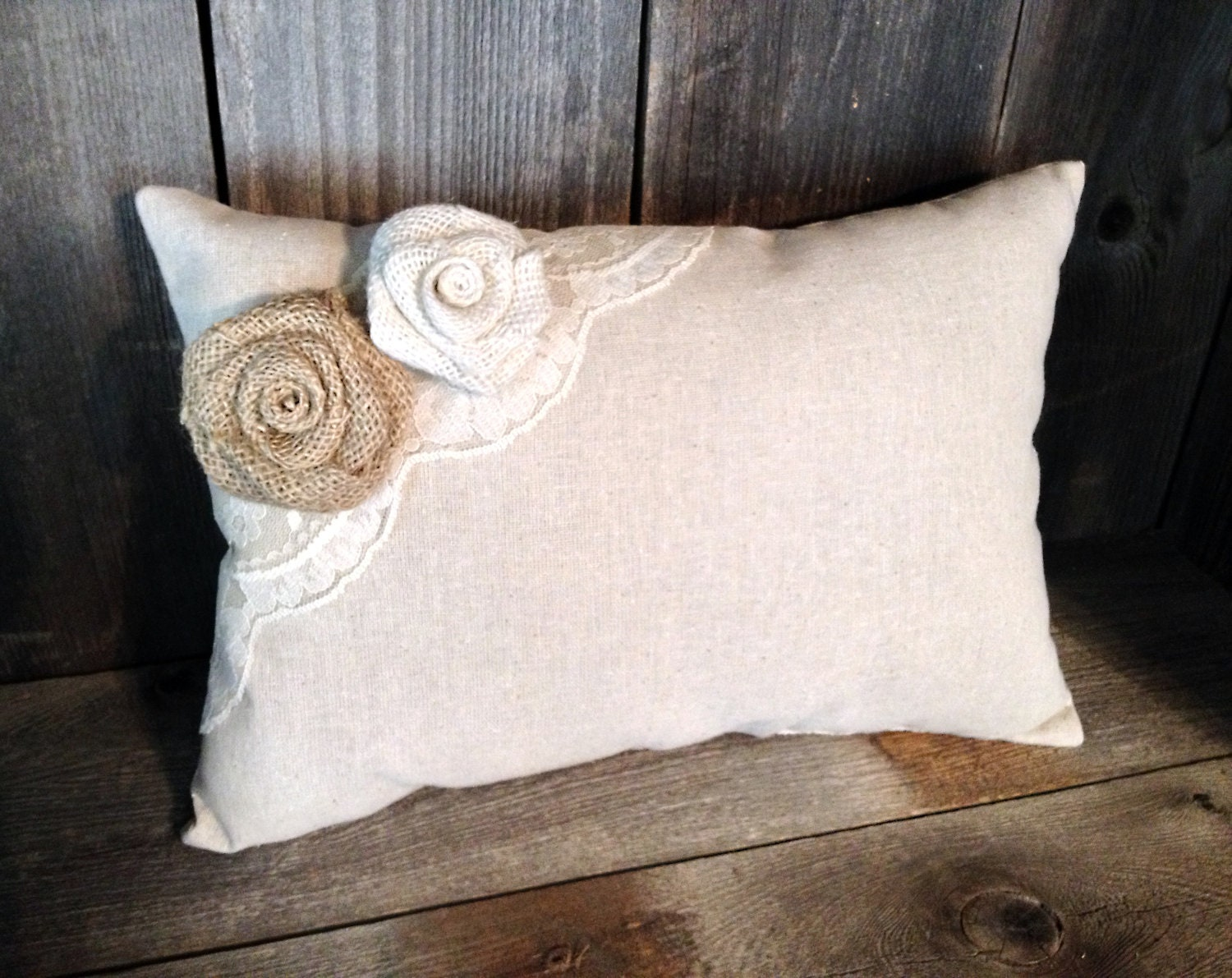 Decorative Linen Pillow with Vintage Ivory Lace & Burlap Rose Embellishments - Cottage Chic - Wedding Gift - Home Decor