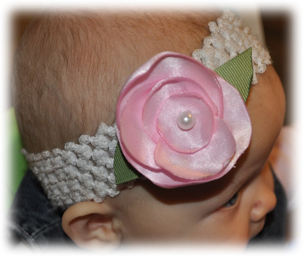 Perfect PINK ROSE Flower Clip Infant Toddler Pink Satin Pearl Center