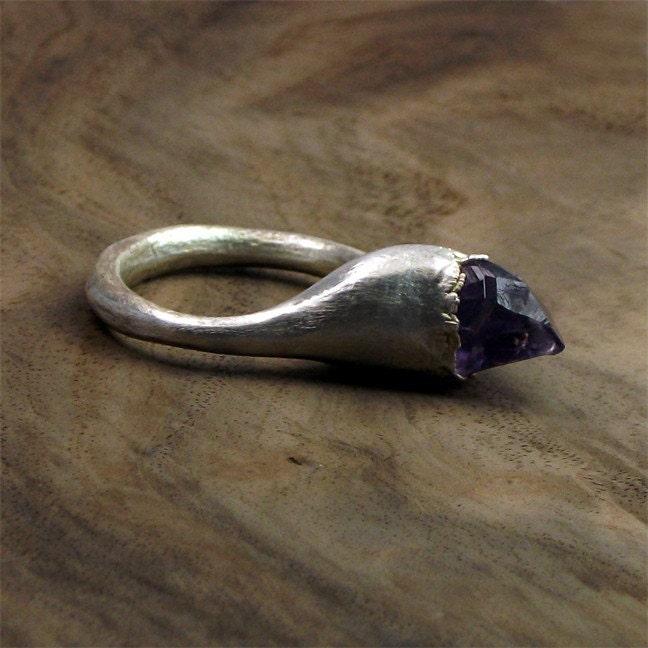 Amethyst Silver Ring Violet Gem Stone Crystal Artisan Handmade