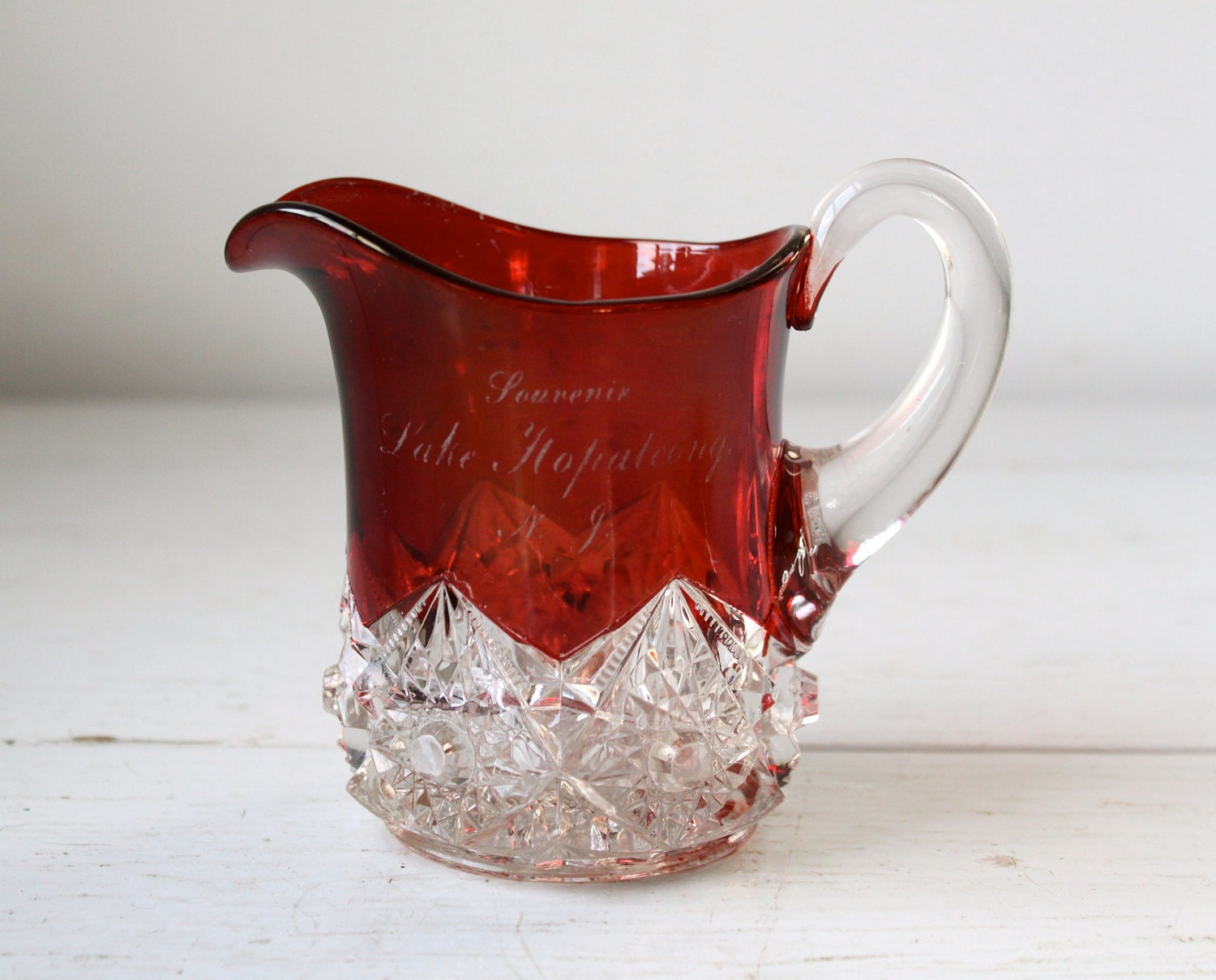 antique ruby glass pitcher / ruby red flash by ...