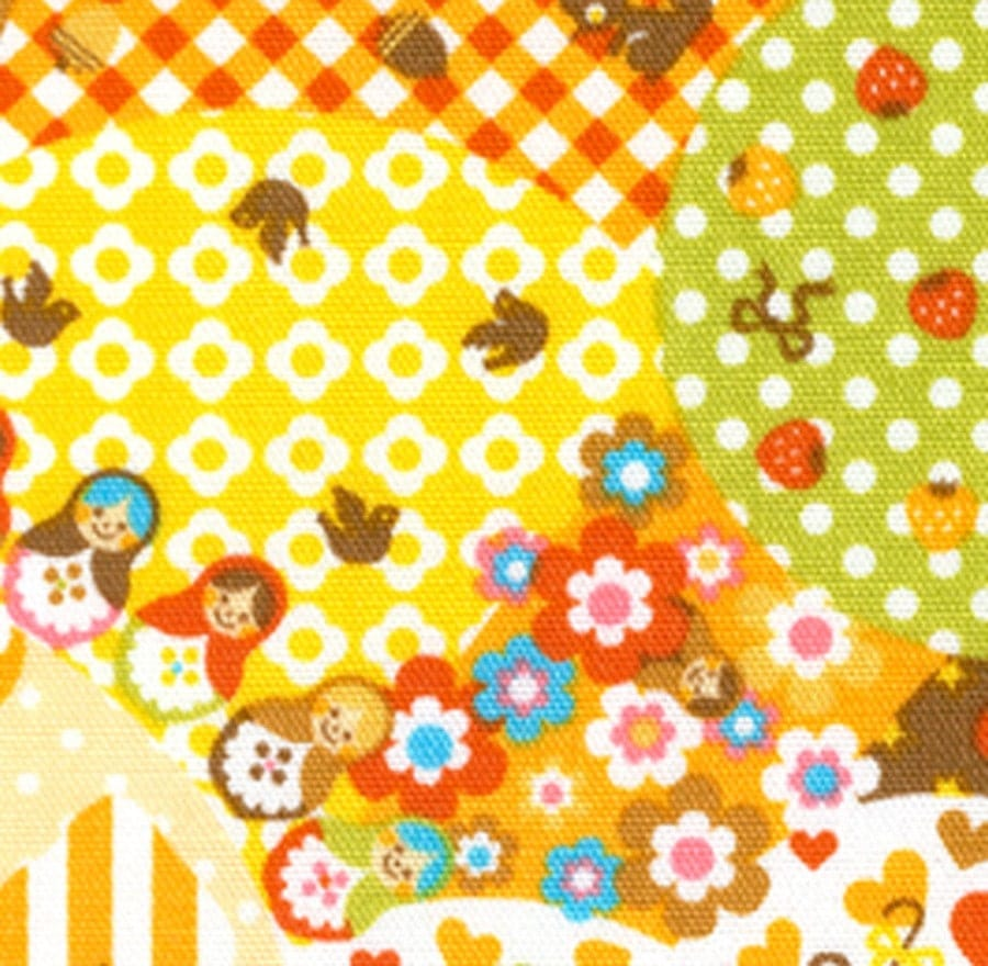 Extreme Kawaii Happy Day Characters Green - Japanese Cotton Fabric Half Yard