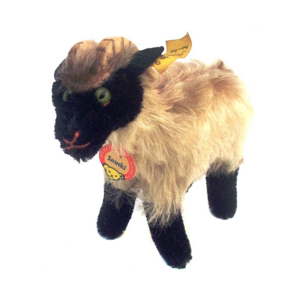 Rare Vintage Steiff Snucki Ram Mohair Toy 1960s Mountain Goat Sheep Farm Animal Ewe Billy Traditional Nursery Decor Gift Collectable Retro