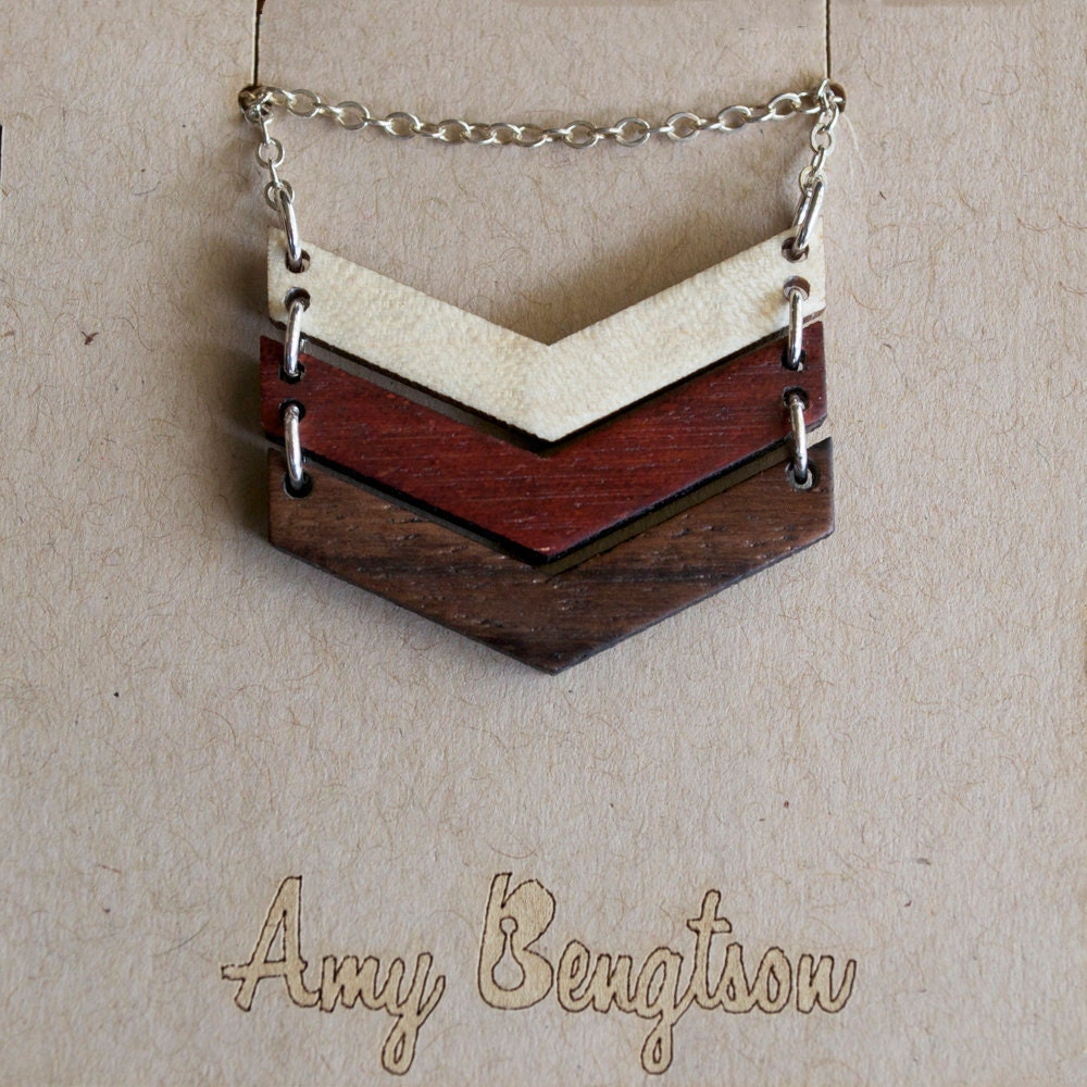Marina Chevron necklace in Maple, Bloodwood and Rosewood