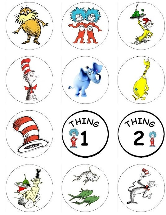 Items similar to Edible Dr. Seuss Cupcake or cookie toppers A variety ...: www.etsy.com/listing/111765609/edible-dr-seuss-cupcake-or-cookie