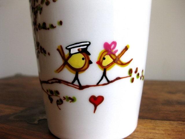 love birds drawing. Marine Yellow Ribbon Love Birds : Storybook Drawing - Porcelain Eco-Friendly