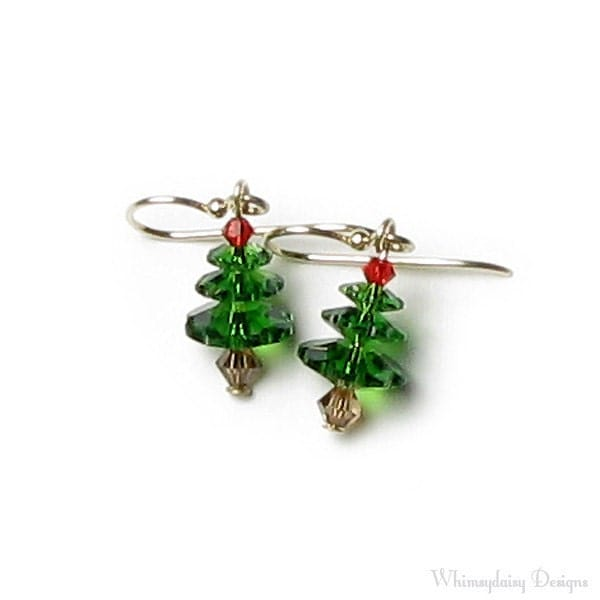 Christmas Tree Earrings 14K Gold Filled Bright Green and Red Swarovski Crystal Earrings Holiday Jewelry For Women - whimsydaisydesigns