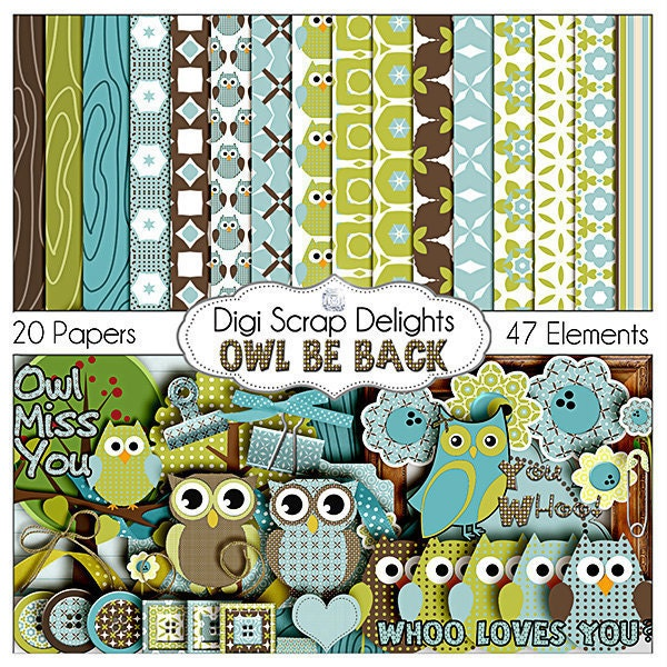 Owl Digital Scrapbooking Kit - Blue, Green, Brown Owl Clip Art & Owls Digital Papers in Woodland for Birthday  Invites, Instant Download