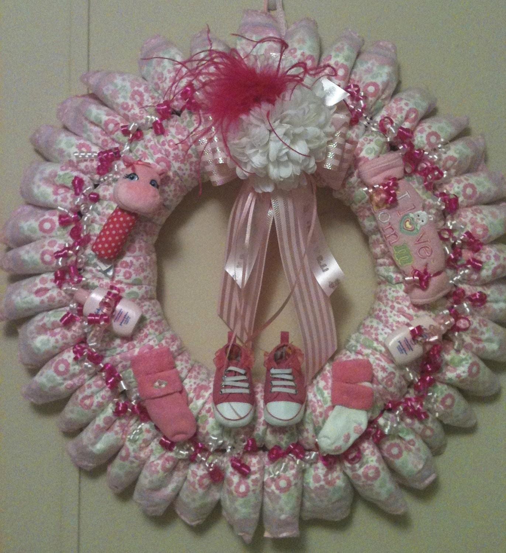 baby girl diaper wreath by dorenetx on etsy