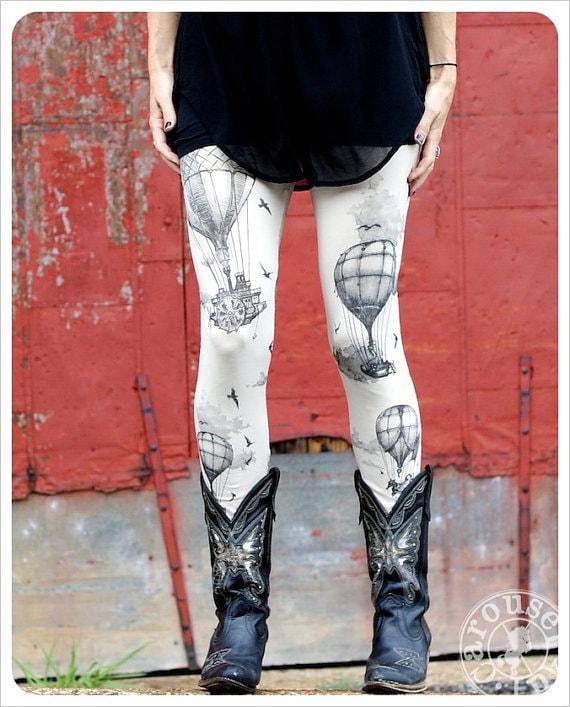 Hot Air Balloon Leggings - Womens Legging - IVORY - Tights - OZ - MEDIUM - Carouselink