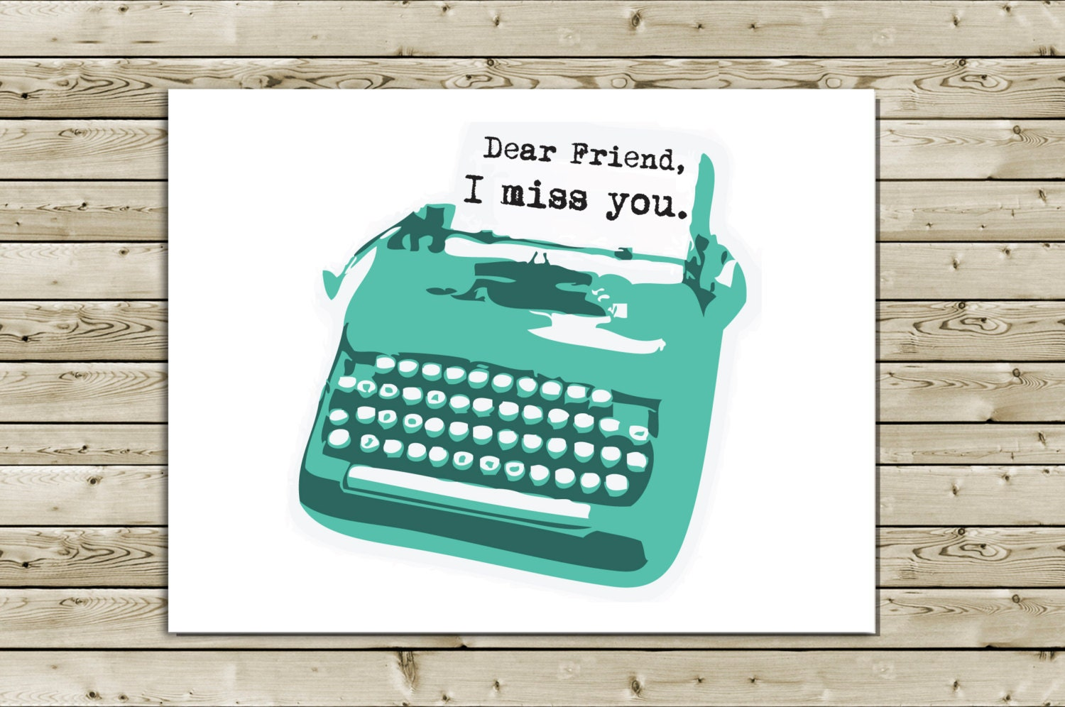 Cute Retro Thinking of You Typewriter Greeting Card -- Dear Friend, I Miss You - aLouCreations