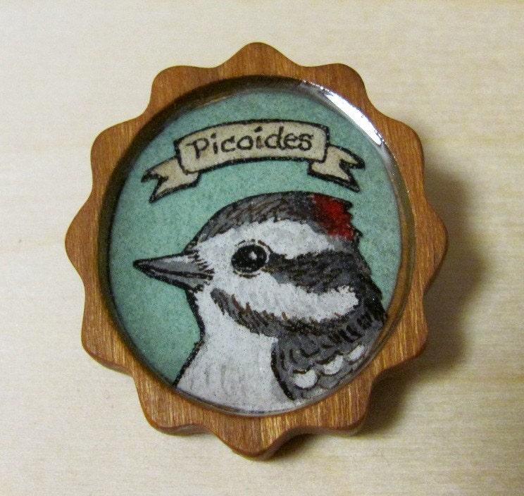 Woodpecker Wood Resin OOAK Brooch