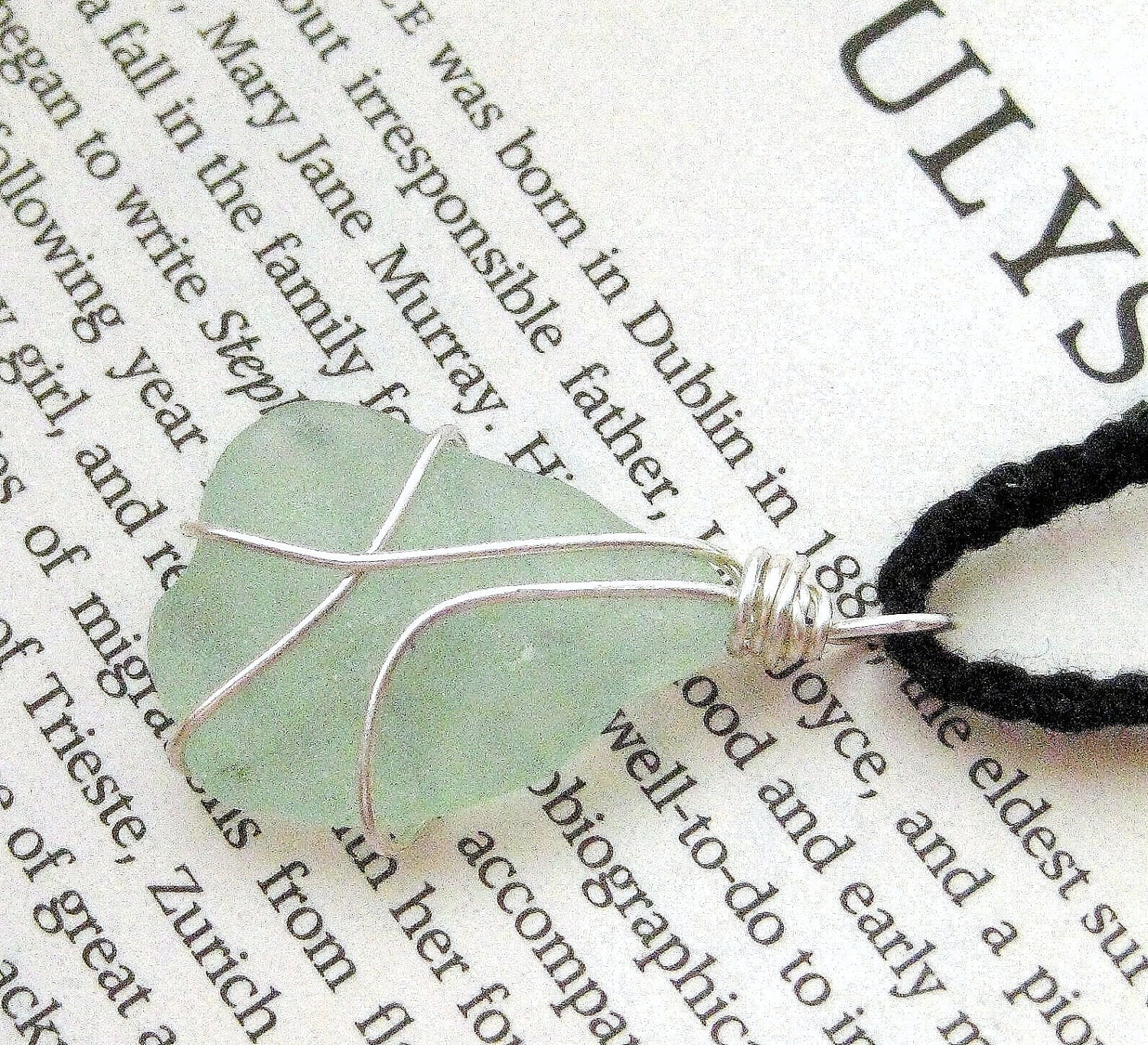 Seaglass Pendant Handmade in Ireland.  Pale Aqua Seafoam Beach Glass. Still Waters