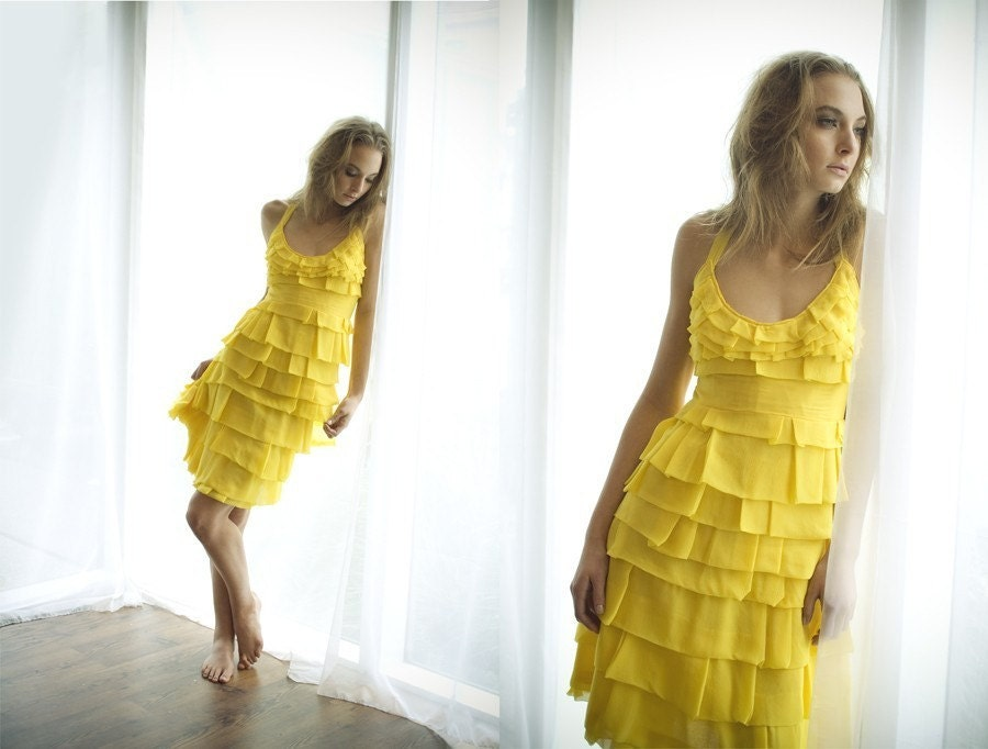 The Canary Dress Made to Order in Layered Silk Chiffon