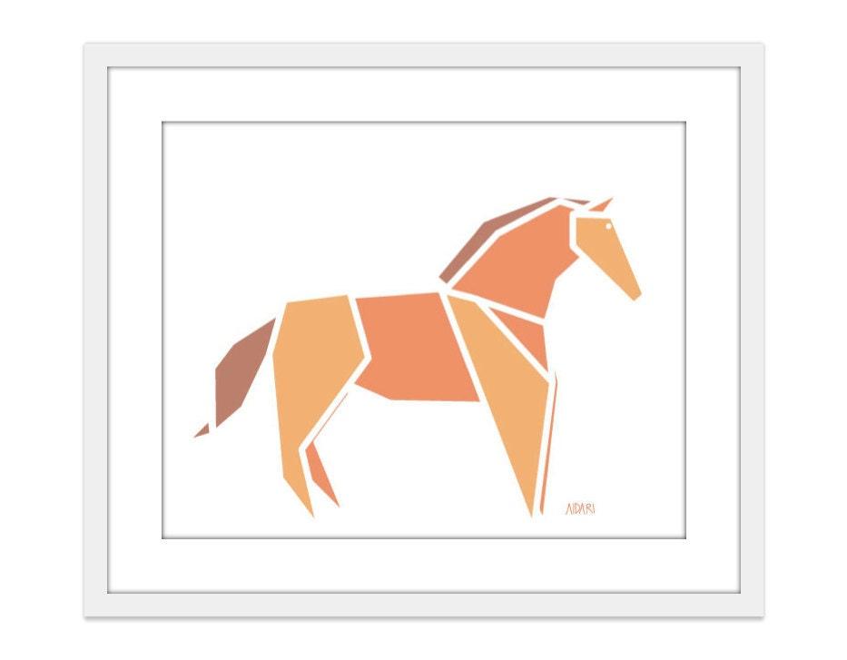 Horse - Wall Art Print - Orange Tangerine - Origami - Equestrian - Geometrical - AldariArt