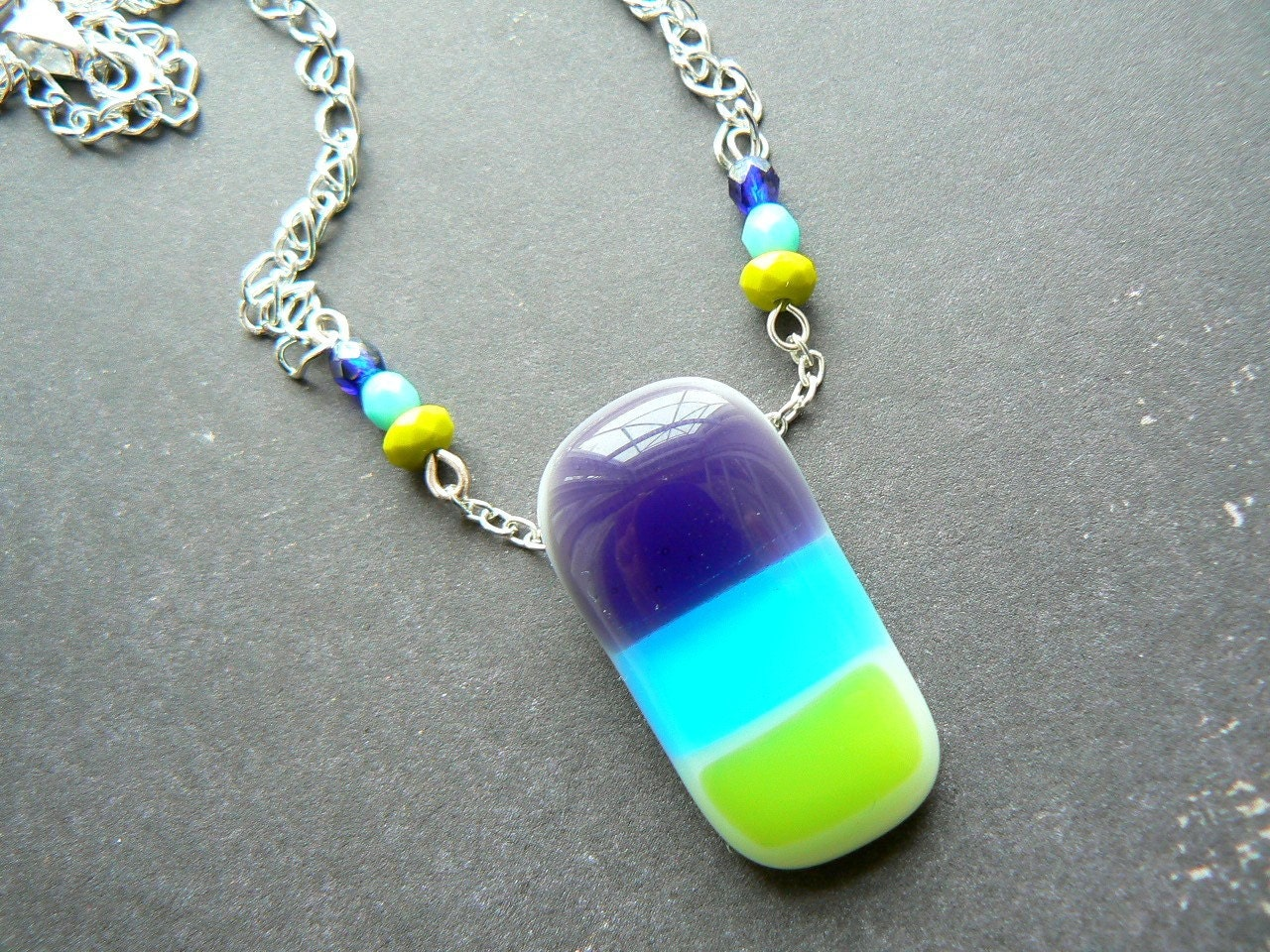 Happy Stripes fused glass necklace