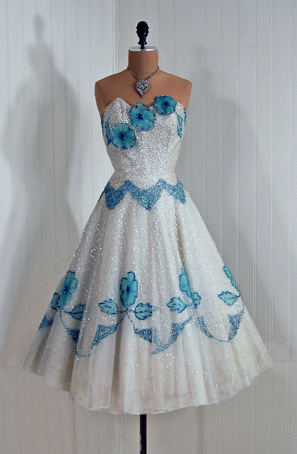 1950's Vintage Strapless Ivory-White and Baby-Blue Heavily-Sequined Tulle Couture Floral-Appliques Princess Bombshell Circle-Skirt Wedding Party Cocktail Dress