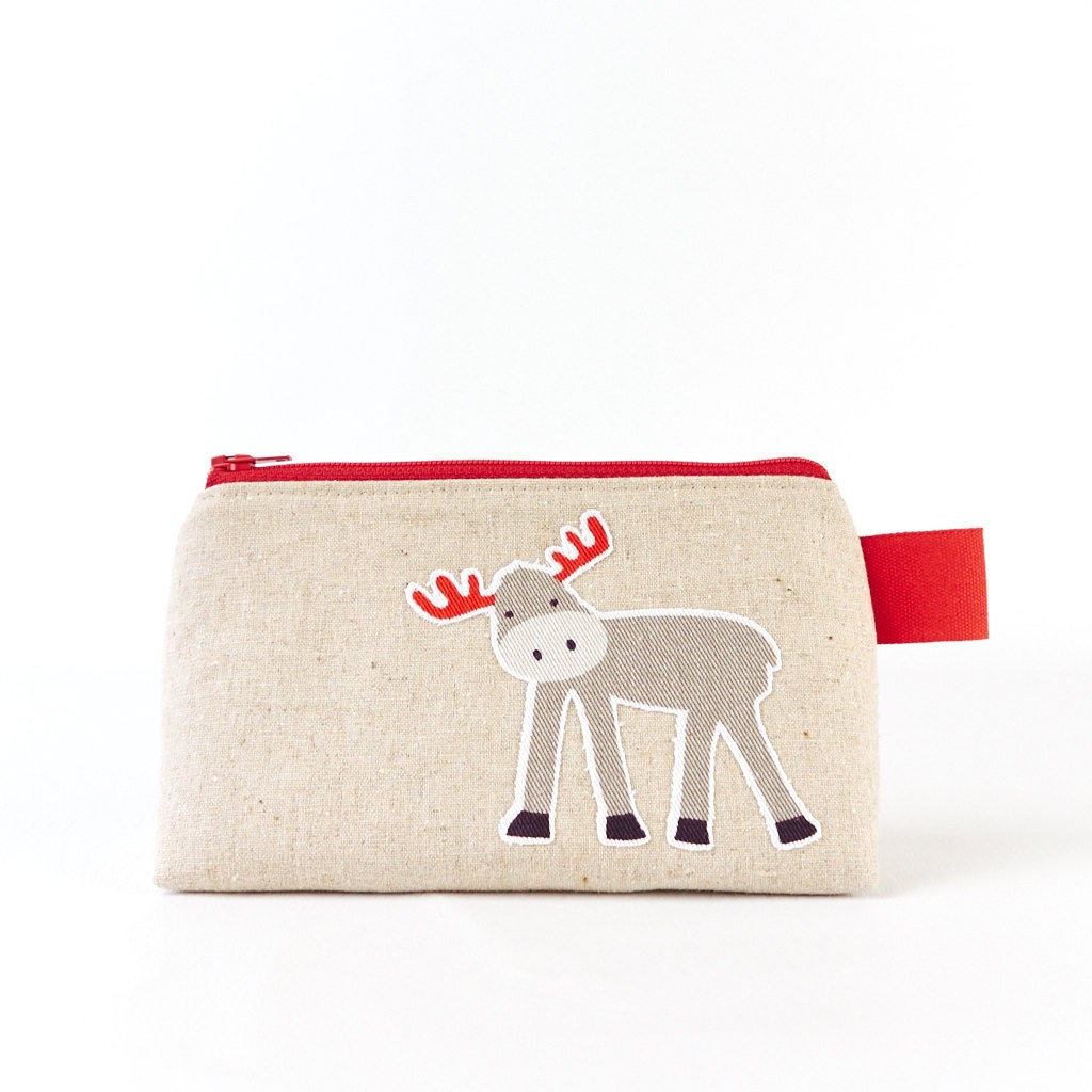 Small Cosmetic Bag Woodland Animal Linen Zipper Makeup Pouch with Moose and Bird Toiletry Bag