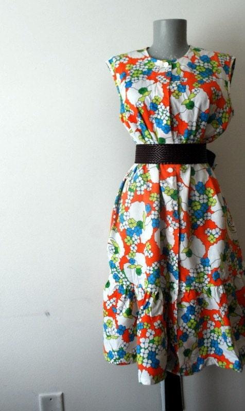 Vintage Orange Flower Dress