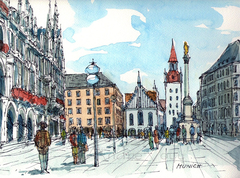 "Munich,  12"" x 9"" giclee print of original watercolor, signed - AndreVoyy"
