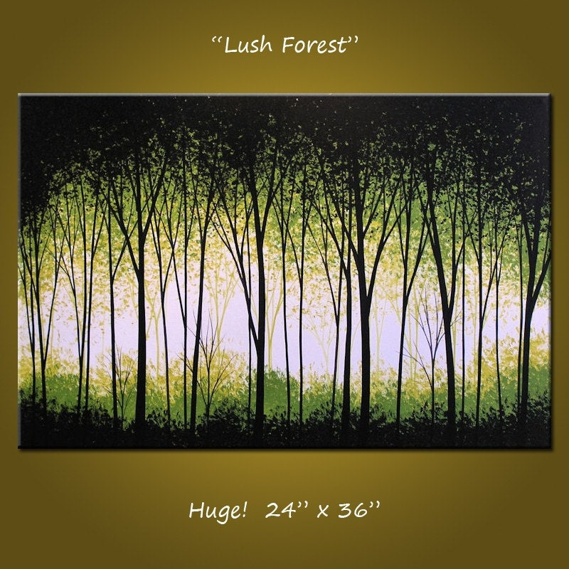 Art painting original large abstract modern by amygiacomelli for Painting a forest in acrylics