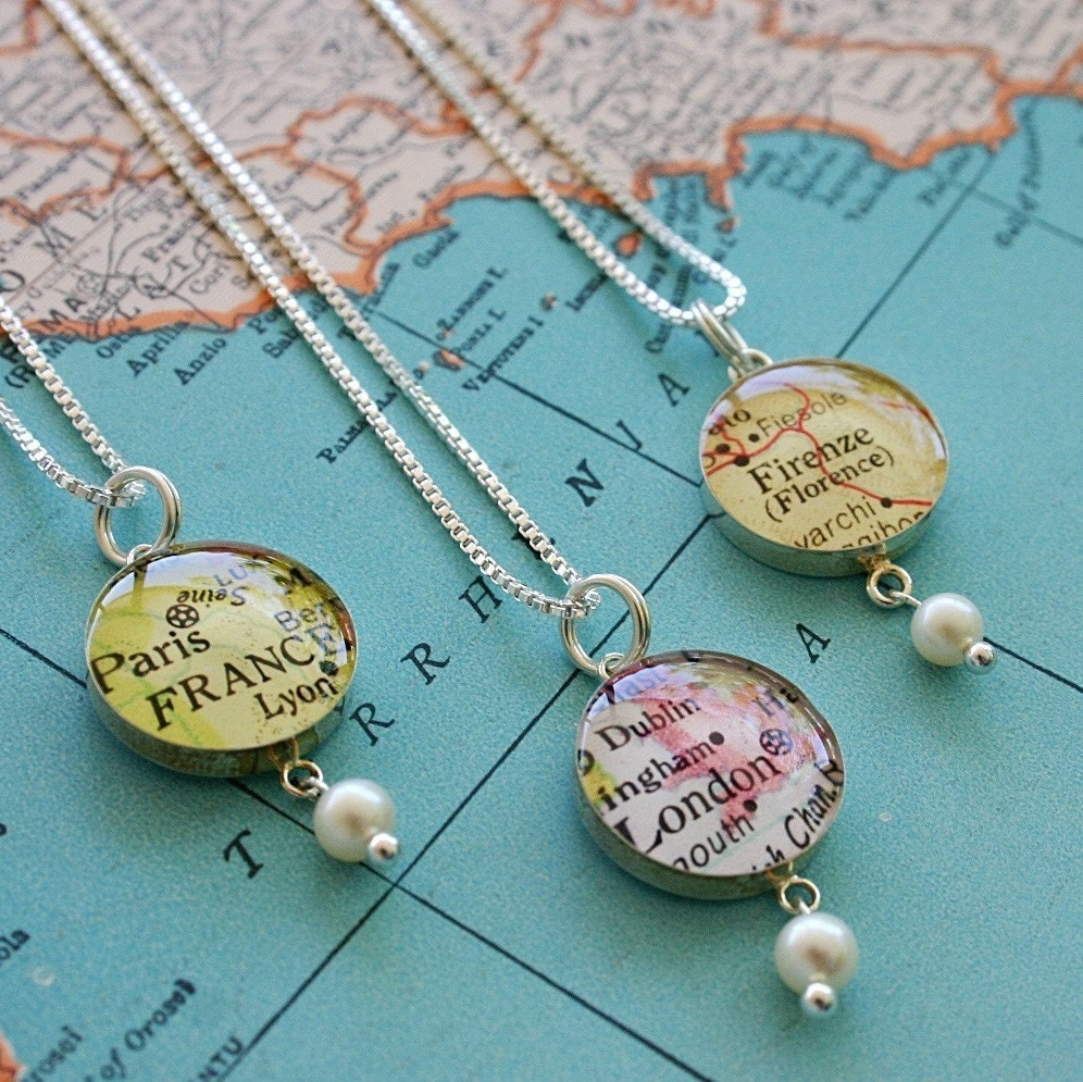Custom Location - Small Map Charm Necklace with Pearl
