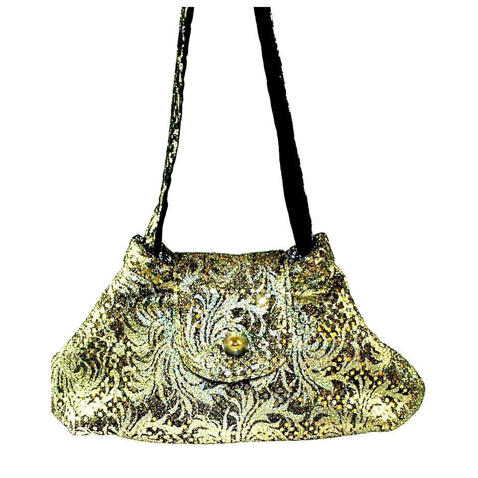 Items similar to large gold purse clutch sparkly vintage shoulder caroljoyfashions lprin black - Prinses pure ...