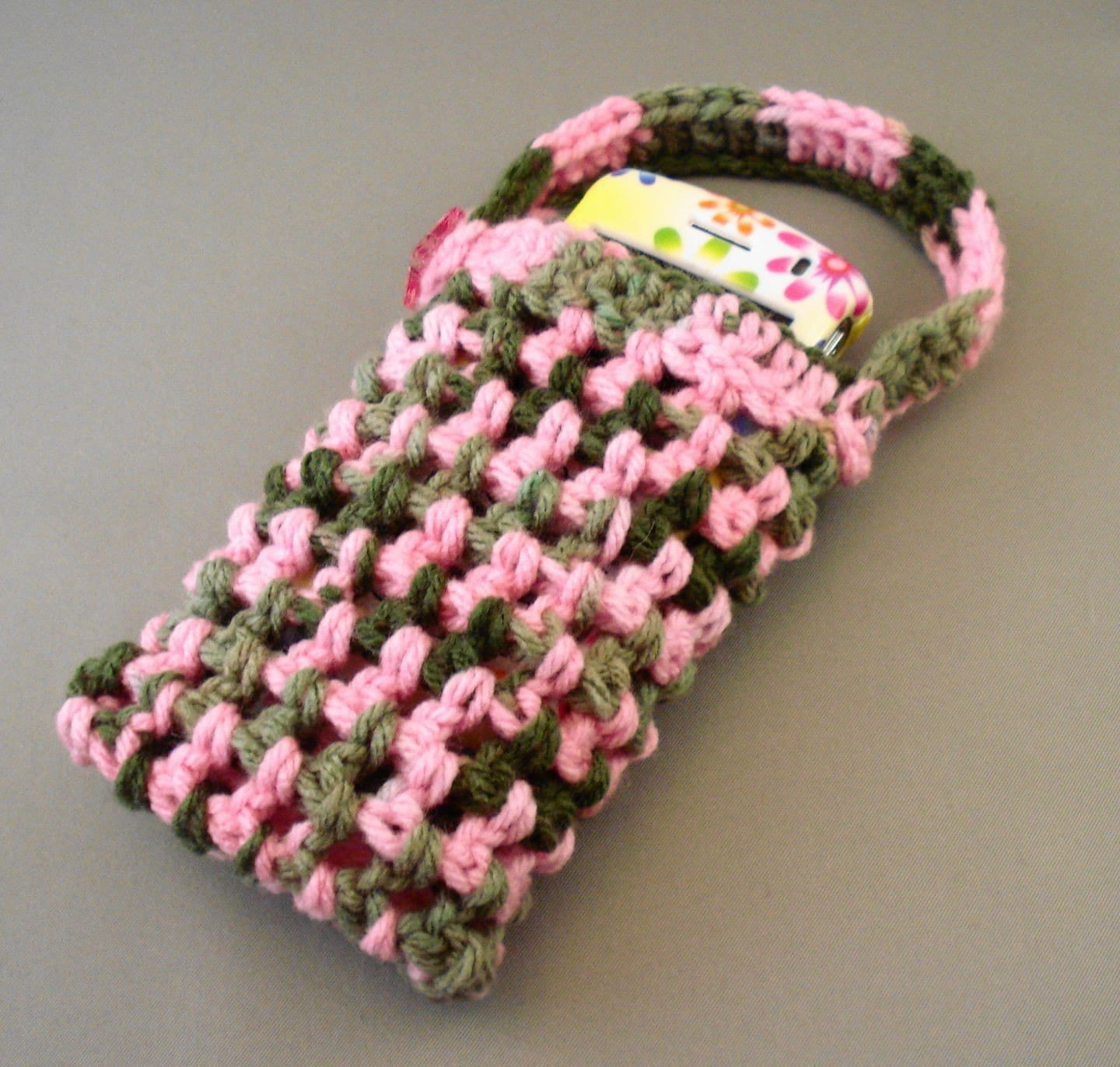 Pink and Green Camo Tag Along Phone/Ipod Cozy