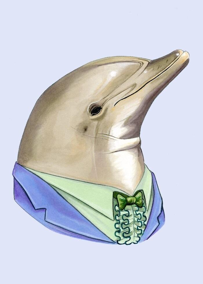 Dolphin print 5x7