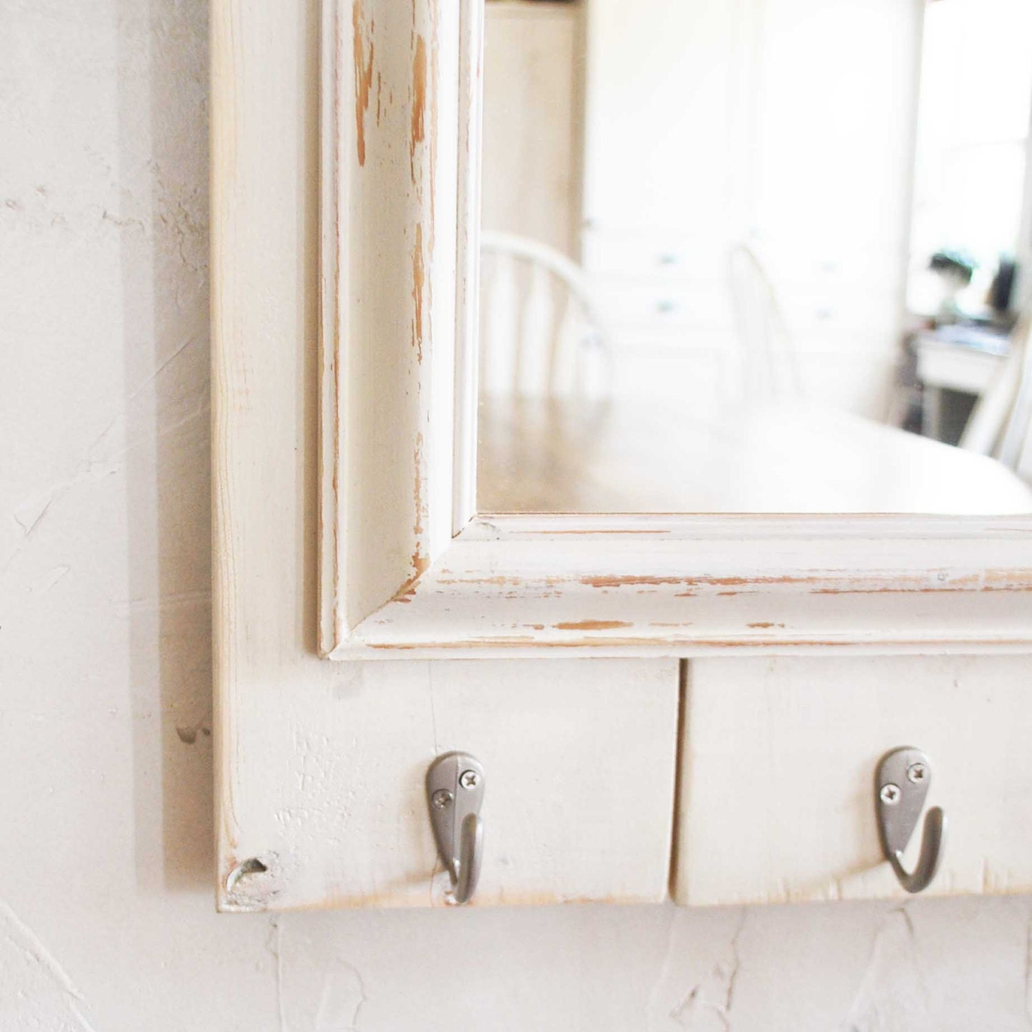 items similar to mirror with hooks entry organizer coat hooks on etsy. Black Bedroom Furniture Sets. Home Design Ideas