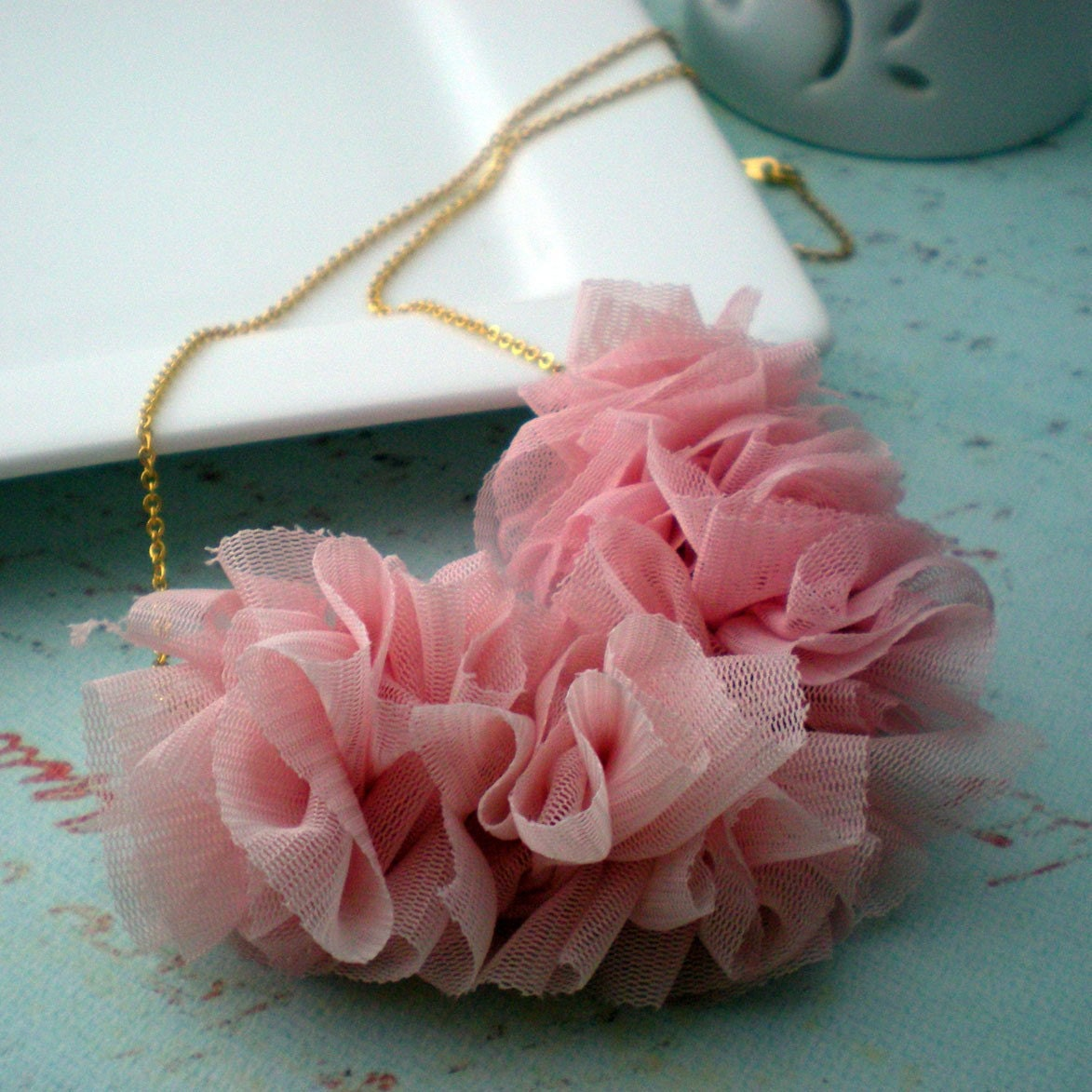 Gathered Chiffon Necklace