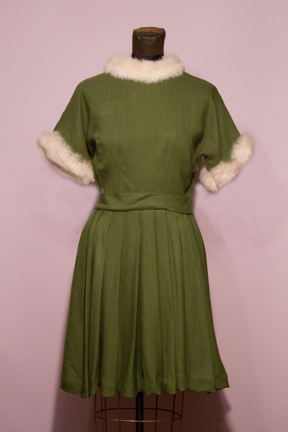 1950's Christmas Bunny Elf Fur Trimmed Dress