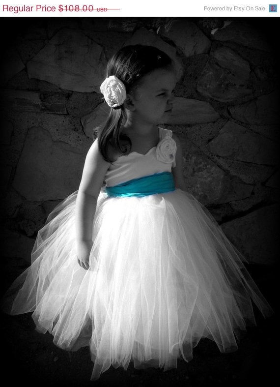 Flower Girl Dress. Wedding Tutu. White and Blue. Sizes newborn baby child toddler FALL SALE