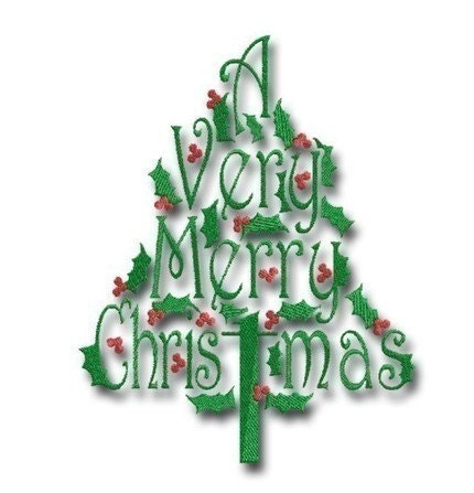 A Very Merry Christmas Tree 4 - in 3 sizes - Embroitique