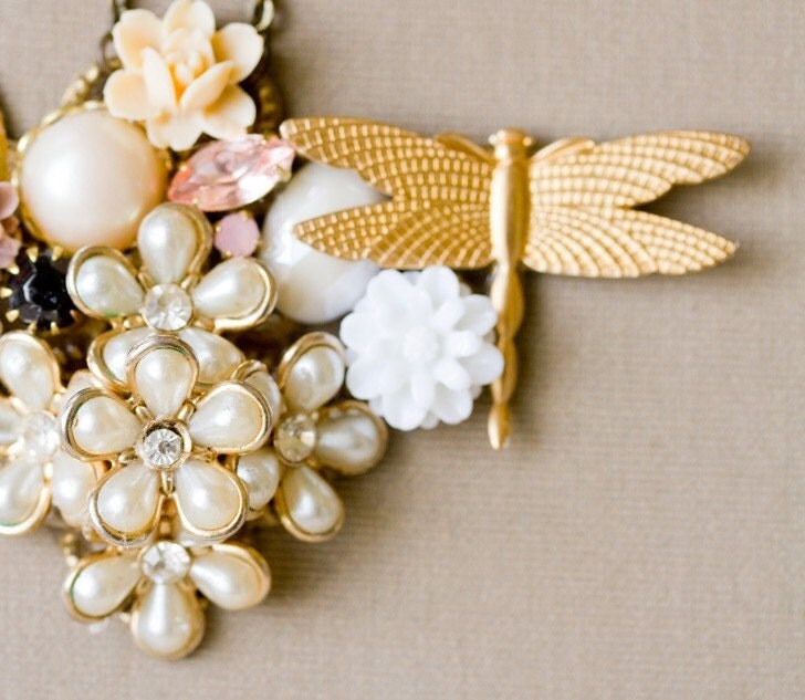 Gold Dragonfly And Flowers Vintage Collage Necklace