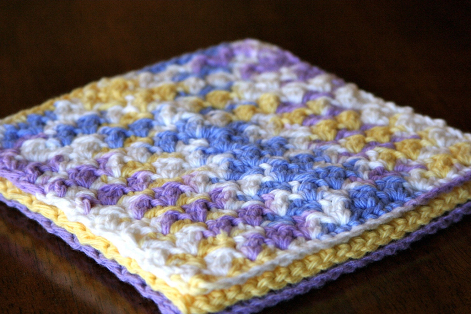 Pretty Purple  6.5 Inch Cotton Washcloth/Dishcloth Set of 3 by OlliesBoutique on Etsy