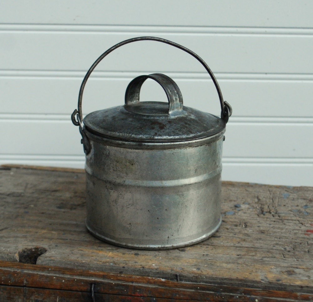 Metal Bucket Antique With Matching Lid And Bail By