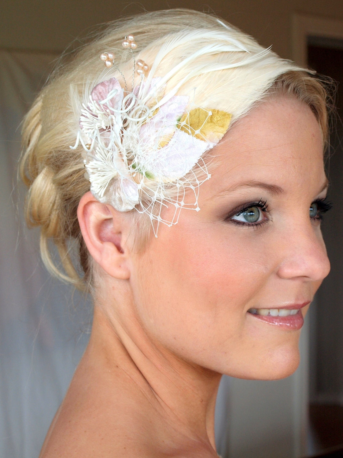 feather fascinator, Miss Constance blush head piece