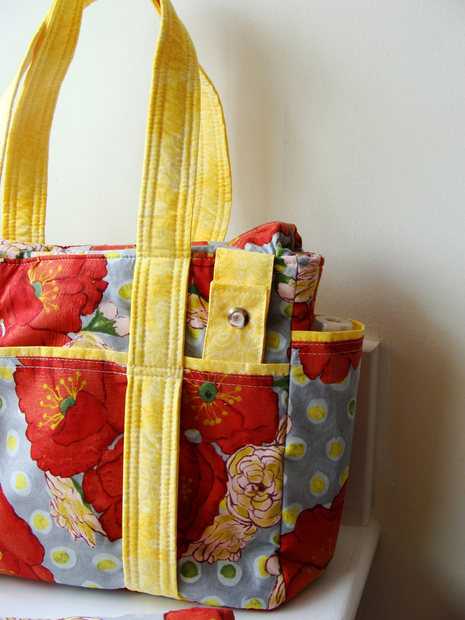 Ziptop Ultimate Diaper Bag with Chenille Changing Pad and Stroller Straps --- Poppy Bouquet --- Ready to ship