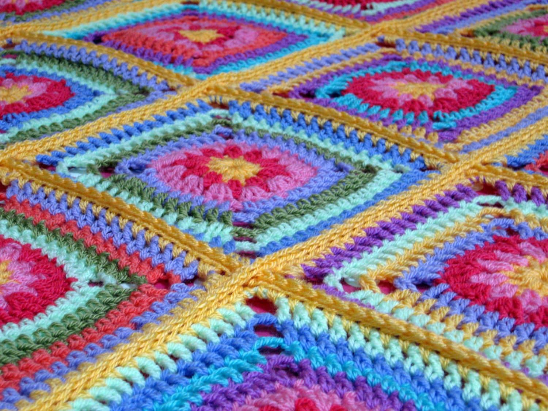 PDF Tutti Frutti Daisy Granny Square Blanket Afghan Crochet Pattern