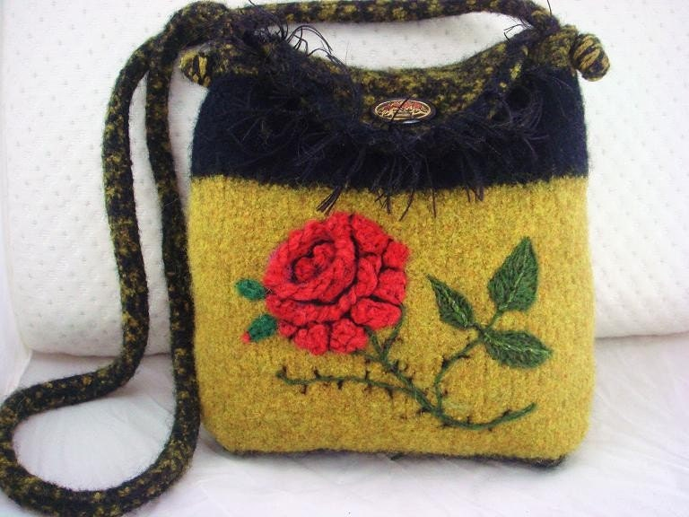 Rose flower gold, black felted purse