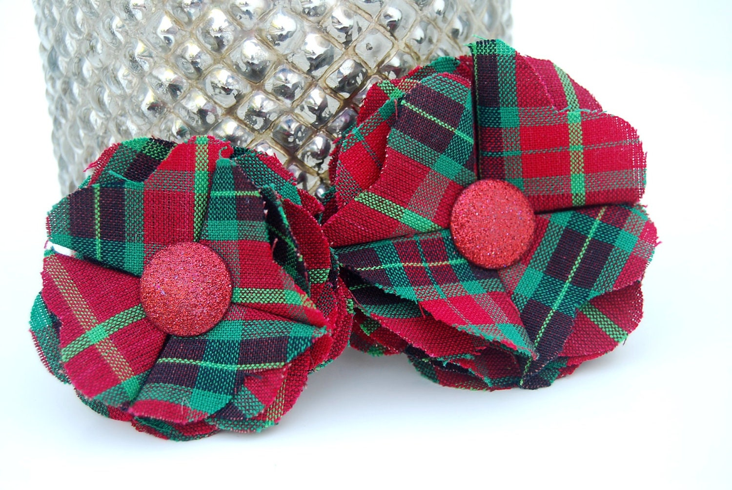 Christmas Tartan Plaid Red Glitter Fabric Flower Pin for Women, Children, Girls