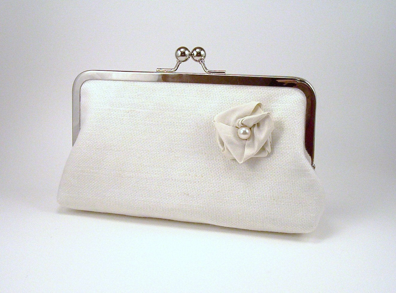 Ivory Linen - Silk-lined Wedding Clutch