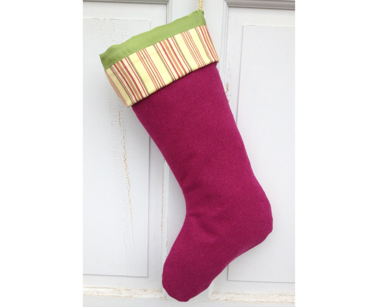 Large Pink Wool Christmas Stocking - Raspberry with Lemon  Modern Heirloom Holiday Decor - spongetta