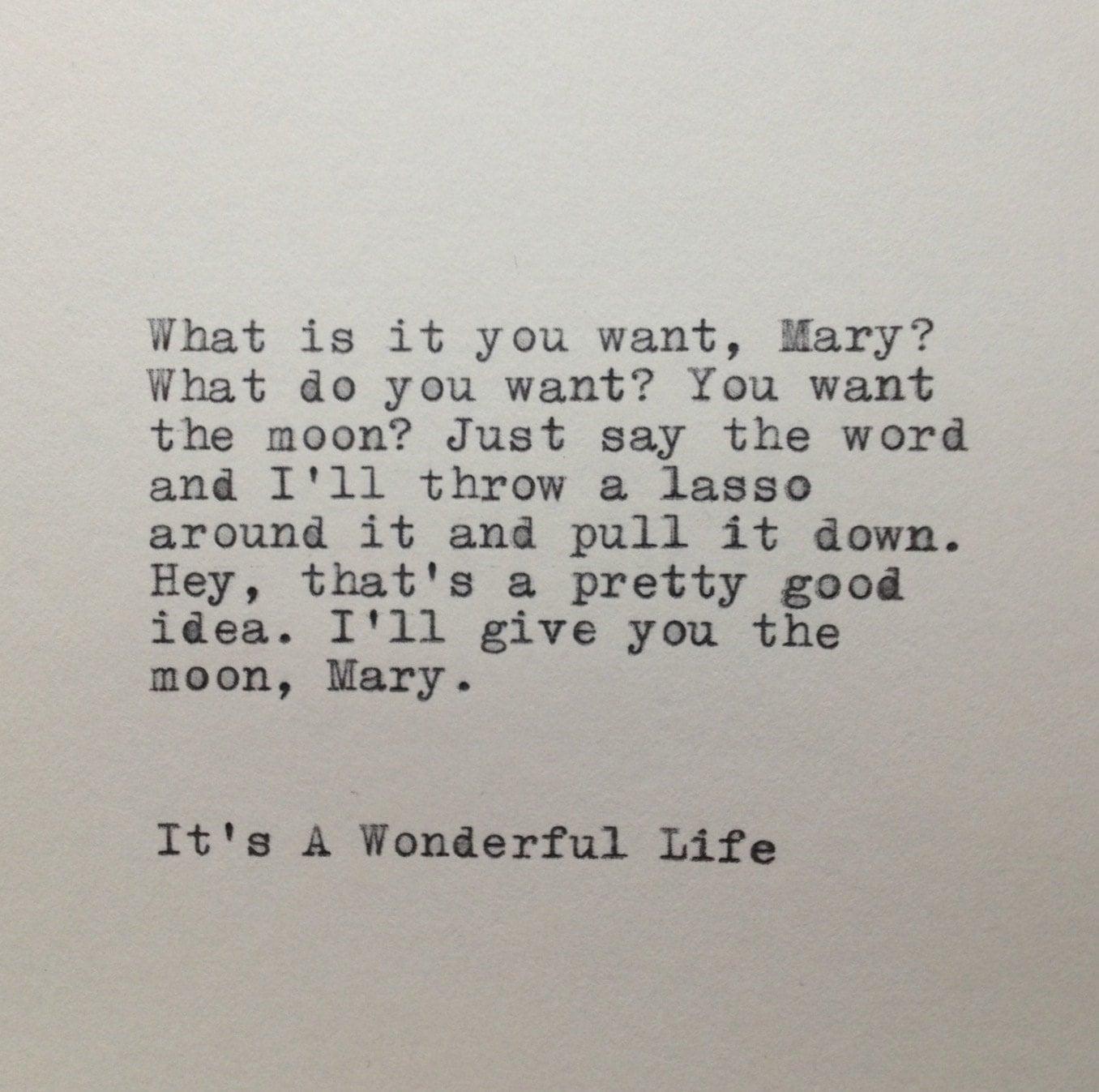 It 39 S A Wonderful Life Quote Typed On Typewriter By Whitecellardoor