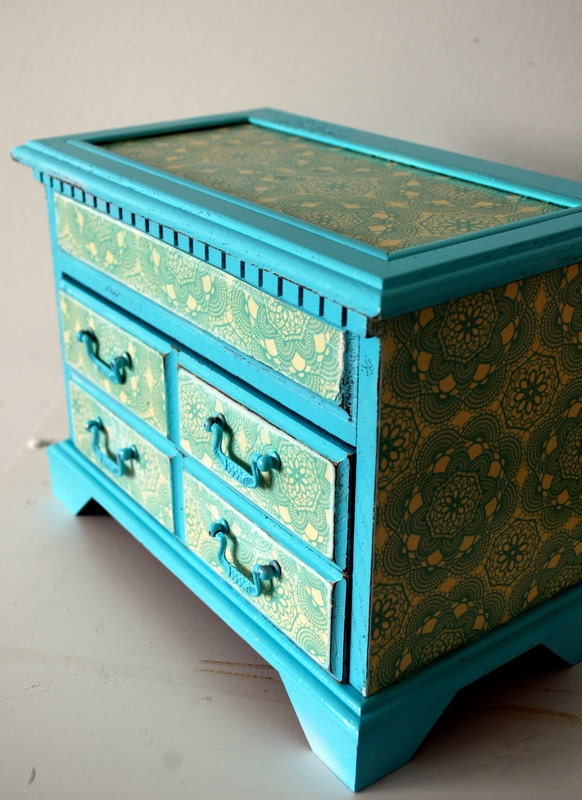 Blue and Birds Upcycled Vintage Jewelry Box