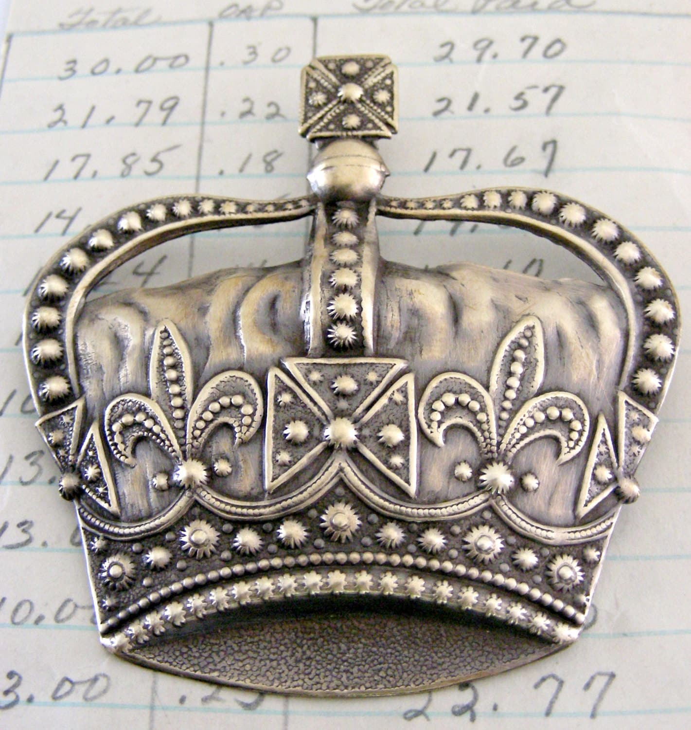 Brooch Royal Crown with Fleur De Lis by chloesvintagejewelry