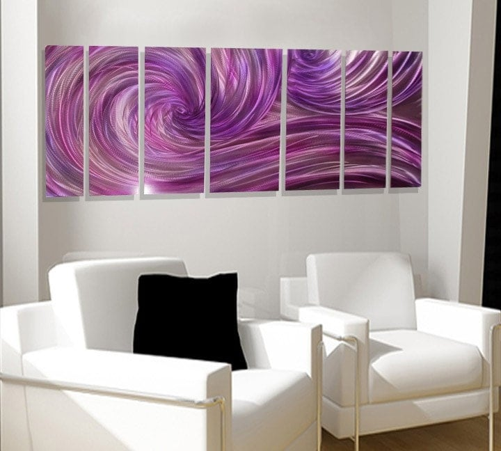 "66"" SEXY OCEAN DANCE purple living room signed classy Big Metal abstract original artwork by lubo"