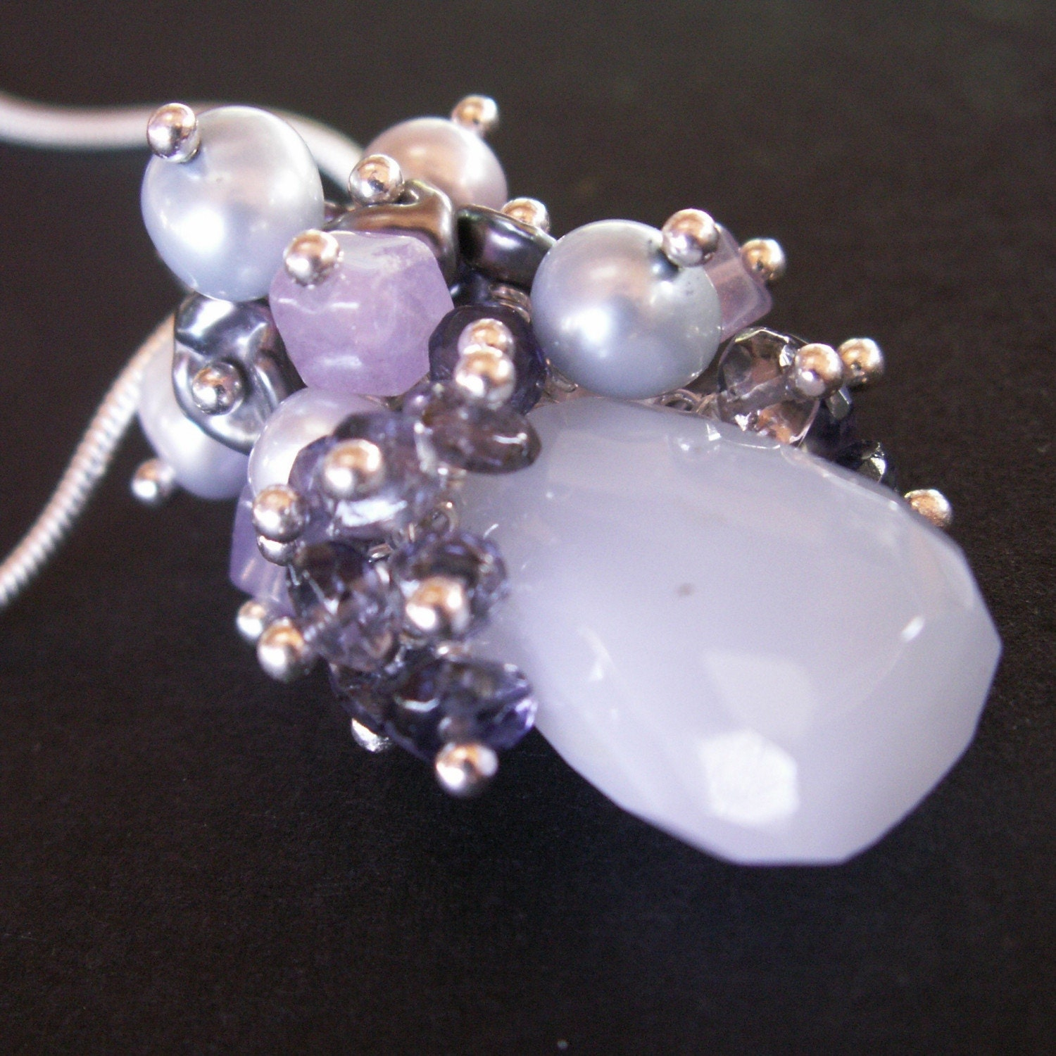 jewelry necklace chalcedony blue nugget iolite lavender pearls fluorite