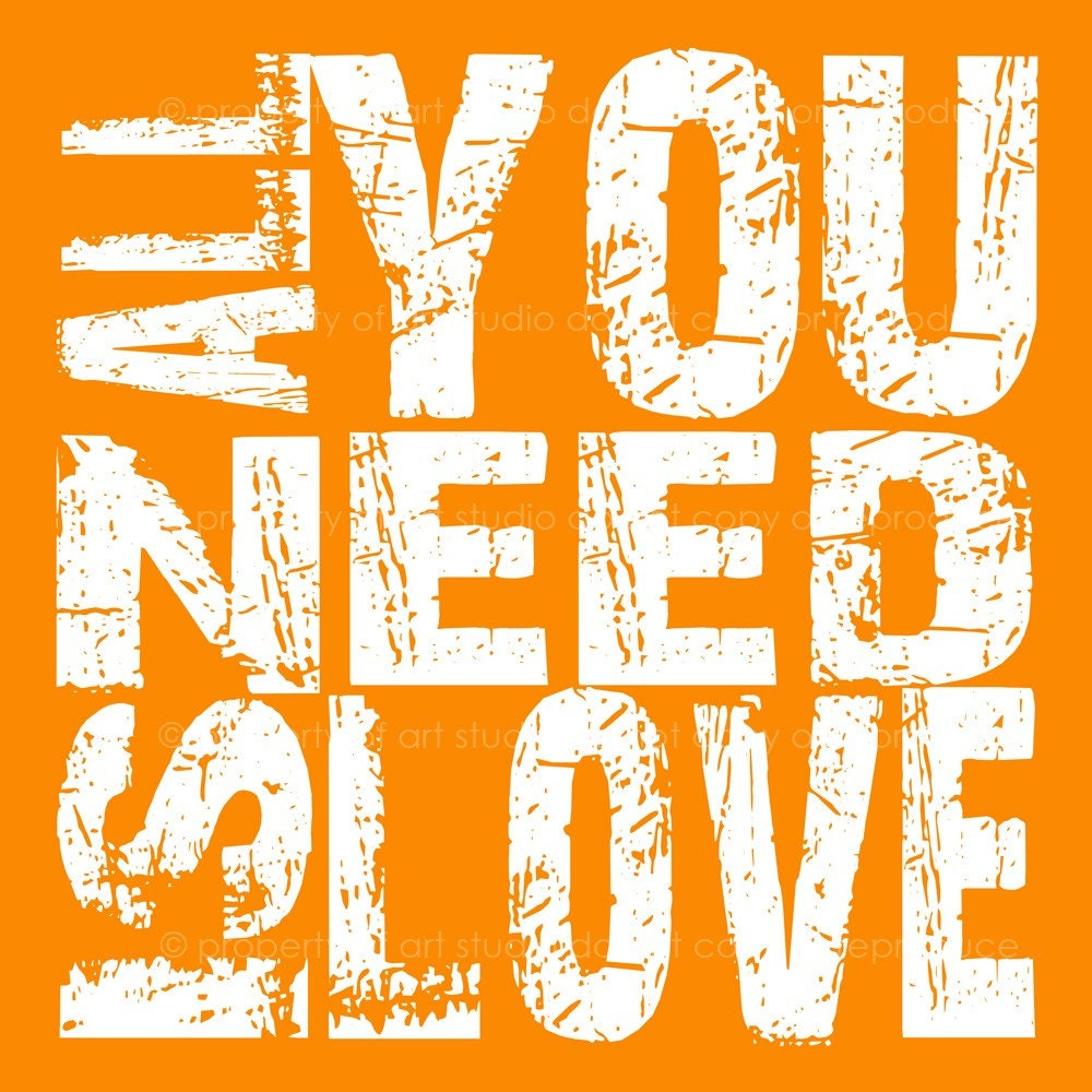 All You Need Is Love - Orange and White Quote- 8x8 Multi Colored Canvas Textured Art Print - Made by artstudio54 on ETSY